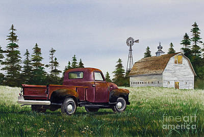 Poster featuring the painting Vintage Country Pickup by James Williamson