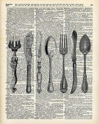 Vintage Cutlery Set Poster