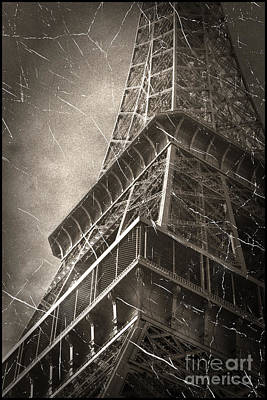 Vintage Eiffel Tower Tote Bag Poster by John Rizzuto