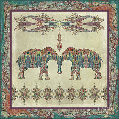 Poster featuring the painting Vintage Elephants Kashmir Paisley Shawl Pattern Artwork by Audrey Jeanne Roberts