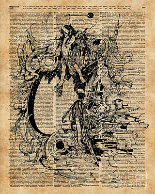 Vintage Fairies Magic Illustration Antique Ink Artwork Dictionary Book Page Art  Poster