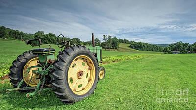 Vintage Farm Tractor In The Field Poster by Edward Fielding