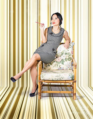 Vintage Fashion Portrait Of Elegant Smoking Woman  Poster by Jorgo Photography - Wall Art Gallery