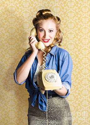 Vintage Fifties Telephone Operator Holding Phone Poster