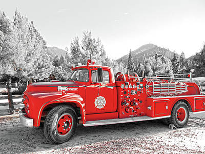 Poster featuring the photograph Vintage Fire Truck by Pacific Northwest Imagery