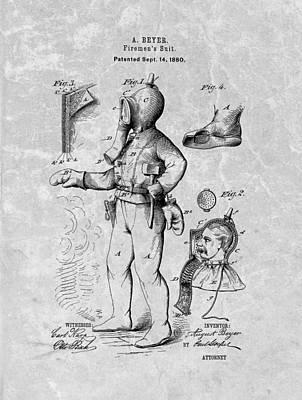 Vintage Fireman Patent Poster