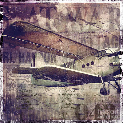 Vintage Fixed Wing Airplane Poster by Mindy Sommers
