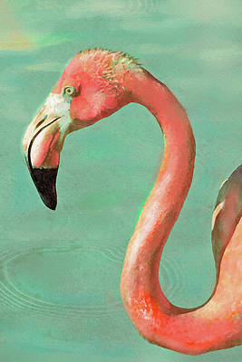 Poster featuring the digital art Vintage Flamingo by Jane Schnetlage