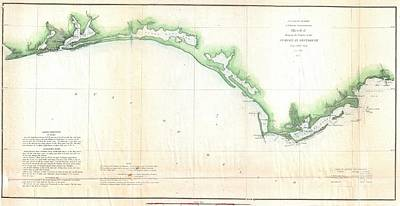 Vintage Florida Panhandle Coastal Map - 1852 Poster