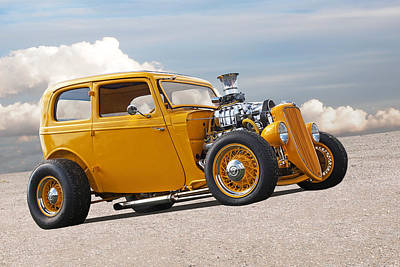 Vintage Ford Hot Rod In Yellow Poster by Gill Billington