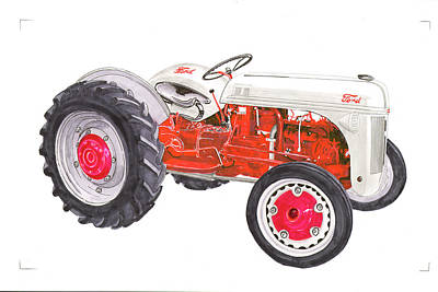 Poster featuring the painting Vintage Ford Tractor 1941 by Jack Pumphrey