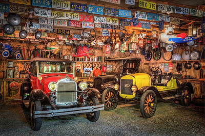 Poster featuring the photograph Vintage Fords Collectibles by Debra and Dave Vanderlaan