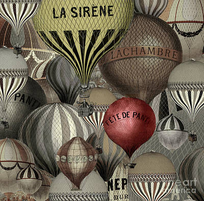 Vintage French Air Balloons Poster