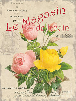 Vintage French Flower Shop 3 Poster by Debbie DeWitt