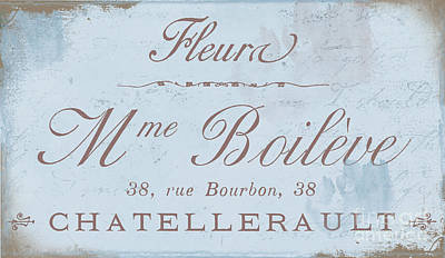 Vintage French Script Sign Poster by Mindy Sommers