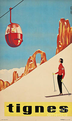 Vintage French Skiing Poster by Mindy Sommers