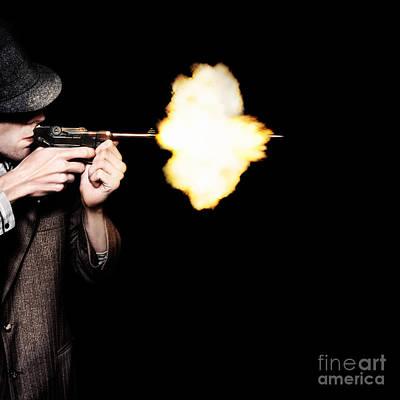 Vintage Gangster Man Shooting Gun On Black Poster