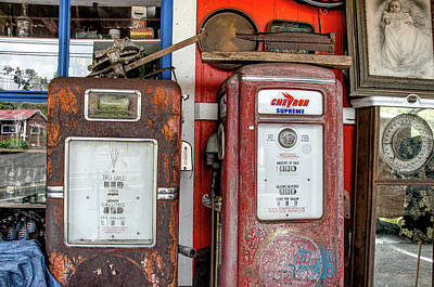 Vintage Gas Pumps Poster