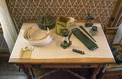Poster featuring the photograph Vintage Gentlemen's Preparation Table by Gary Slawsky