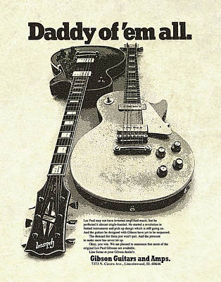 Vintage Gibson Les Paul Ad Poster by Gary Bodnar
