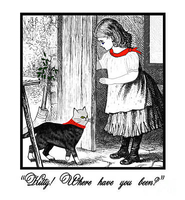 Vintage Girl Lets In Her Gray Cat Poster
