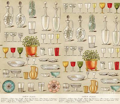 Vintage Glassware Collage Poster by Anne Kitzman