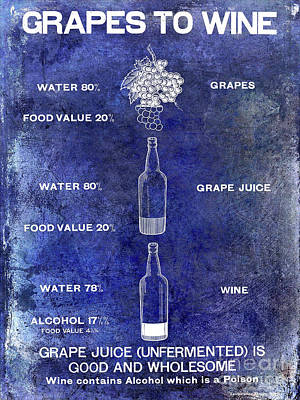 Vintage Grape To Wine Chart Blue Poster by Jon Neidert