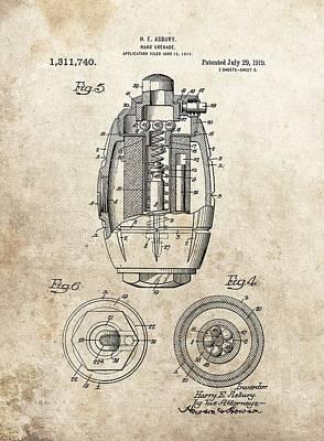 Vintage Hand Grenade Patent Poster