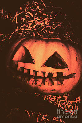Vintage Horror Pumpkin Head Poster