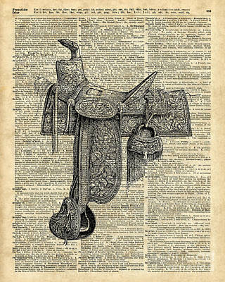 Vintage Horse Saddle Illustration Over Old Book Page Poster