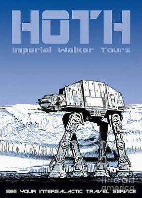Vintage Hoth Star Wars Travel Poster Poster by Edward Fielding