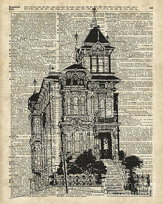 Vintage House Over Dictionary Page Poster