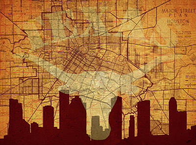 Vintage Houston Texas Skyline Poster by Dan Sproul