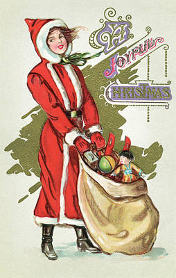 Vintage Illustration Of A Girl In A Santa Claus Suit With A Bag Of Christmas Toys Poster