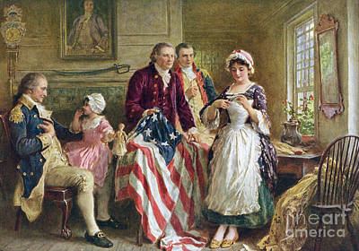 Vintage Illustration Of George Washington Watching Betsy Ross Sew The American Flag Poster