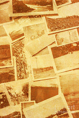 Vintage Image Of Various Photographs On Table  Poster