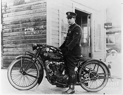Vintage Indian Police Motorcycle Poster by Jon Neidert