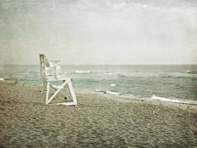Vintage Inspired Beach With Lifeguard Chair Poster by Brooke T Ryan