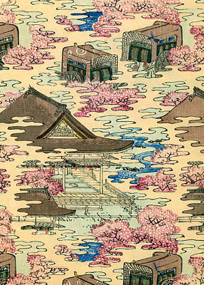 Vintage Japanese Illustration Of An Abstract Landscape With Stylized Houses Poster