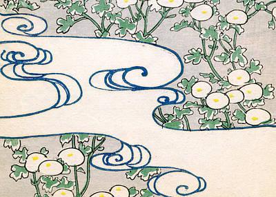 Vintage Japanese Illustration Of Blooming Vines And Wave Pattern Poster