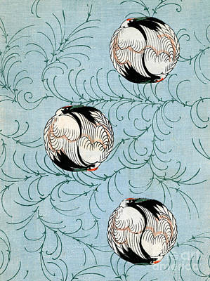 Vintage Japanese Illustration Of Curled Cranes Poster by Japanese School