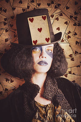 Vintage Jester Woman Wearing The Card Of Hearts Poster