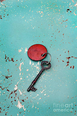Vintage Key With Red Tag Poster by Jill Battaglia