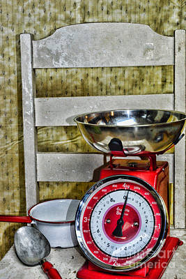 Vintage Kitchen Chair And Scale Poster