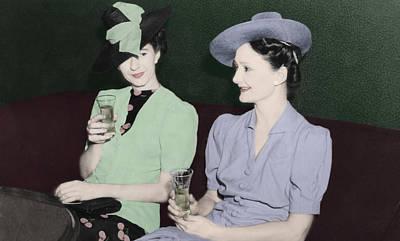 Vintage Ladies Enjoying A Drink Poster by Erin Cadigan