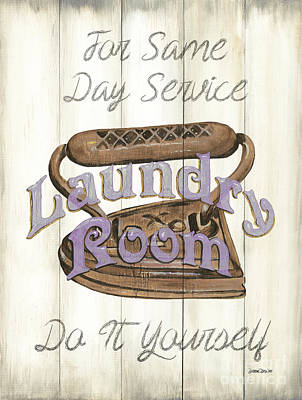 Vintage Laundry Room 1 Poster by Debbie DeWitt