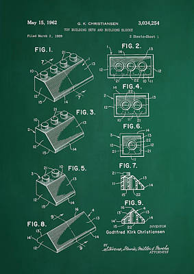Vintage Lego Patent Green Poster by Brooke Roby