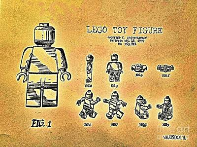 Vintage Lego Toy Figure Patent - Gold Abstract Poster by Scott D Van Osdol