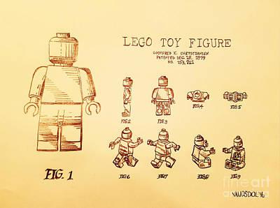 Vintage Lego Toy Figure Patent - Peach Background Poster by Scott D Van Osdol