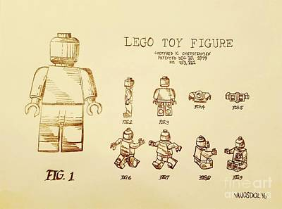 Vintage Lego Toy Figure Patent Poster by Scott D Van Osdol
